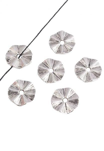 10 Metallscheiben gewellt 10mm silber/platin Spacer Perle 18435