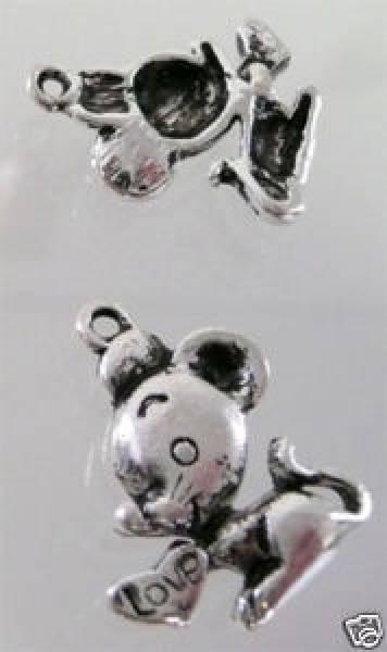 1 Anhänger Charms Maus mit Herz silber Metall 00290