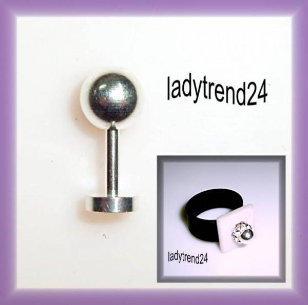 1 Wechselstab Ringstab silber 14,5mm Kugel 611