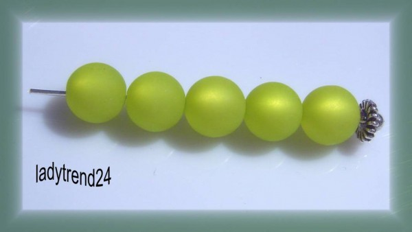 5 Polarisperlen 10mm kiwi matt