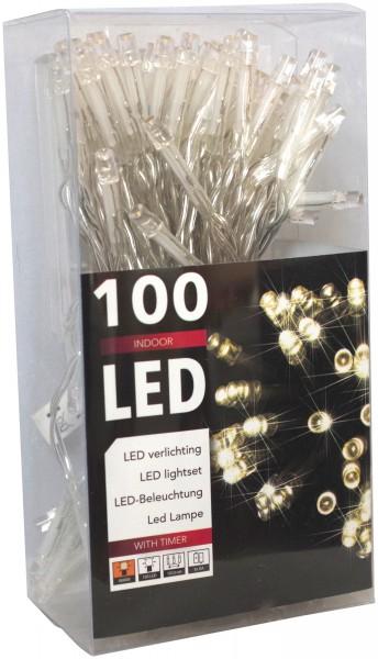 LED-Lichterkette 100er Batteriebetrieb warmweiss + Timer transparentes Kabel