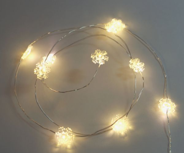 10-er LED Lichterkette Schneeflocke Micro Silberdraht ...