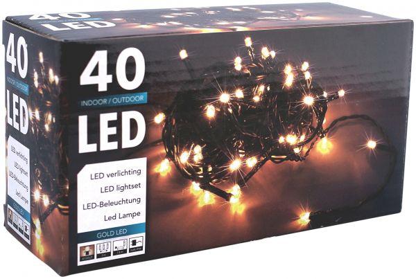 LED Lichterkette 40 Lämpchen extra warmweiss für innen und außen Strom