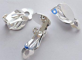 3 Paar Ohrclips 10mm silber Metall 08670