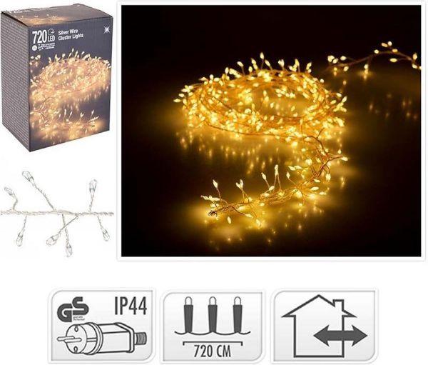 LED Cluster Lichterkette Silberdraht warmweiß 720 außen Büschel Strom