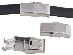 1 Verschluss Edelstahl 25x13mm silber/platin 16117 Schiebeperle