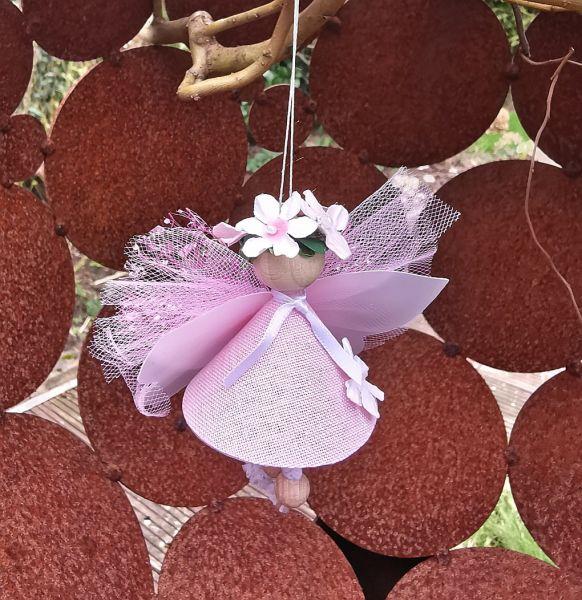 "2er Set Glücksfee ""Lotte"" rosa mini hängend Bastelpackung Fee basteln 10cm"