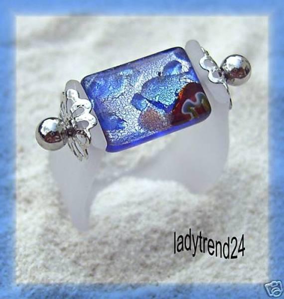 1 Wechselring mit Kautschuk und Stein Silberfolie weiß blau 311