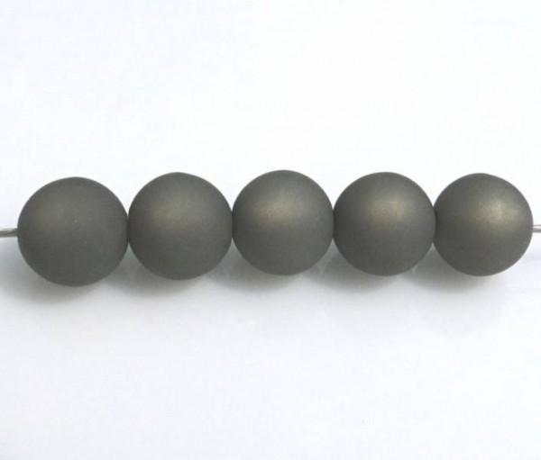 5 Polarisperlen 10mm dunkelgrau matt