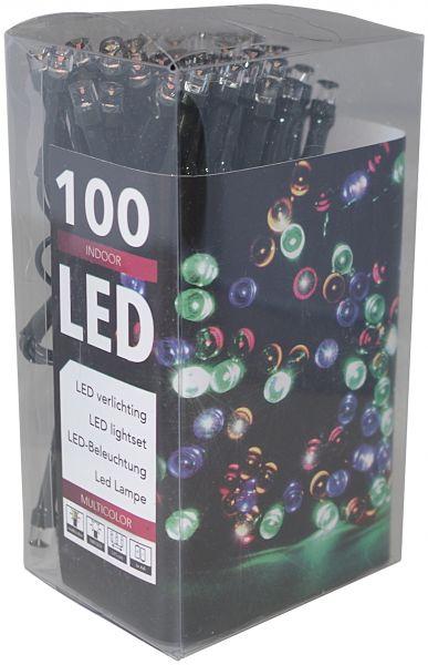 LED - Lichterkette 100 Lämpchen Batteriebetrieb bunt - grünes Kabel