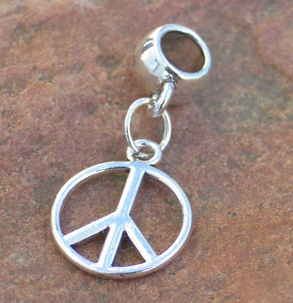 1 Anhänger Peace mit Großlochperle Slider silber Metall 15759