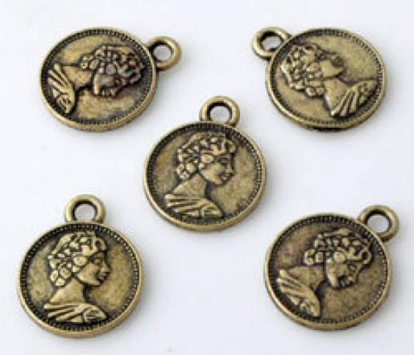 1 Anhänger Charms Münze 12mm Metall altgold/bronze Glücksmünze 10803
