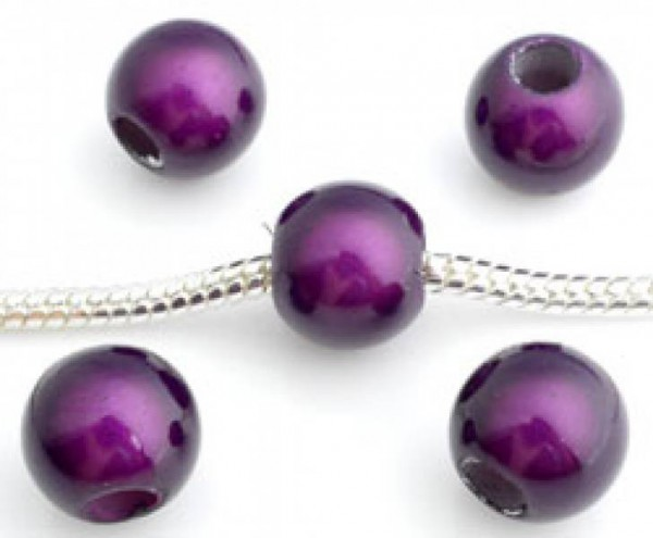 5 Miracle Beads 10mm Kunststoff lila 10283