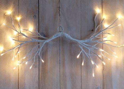 LED 144er Lichterzweig Ast weiß hängend warmweiss Timer für innen und außen