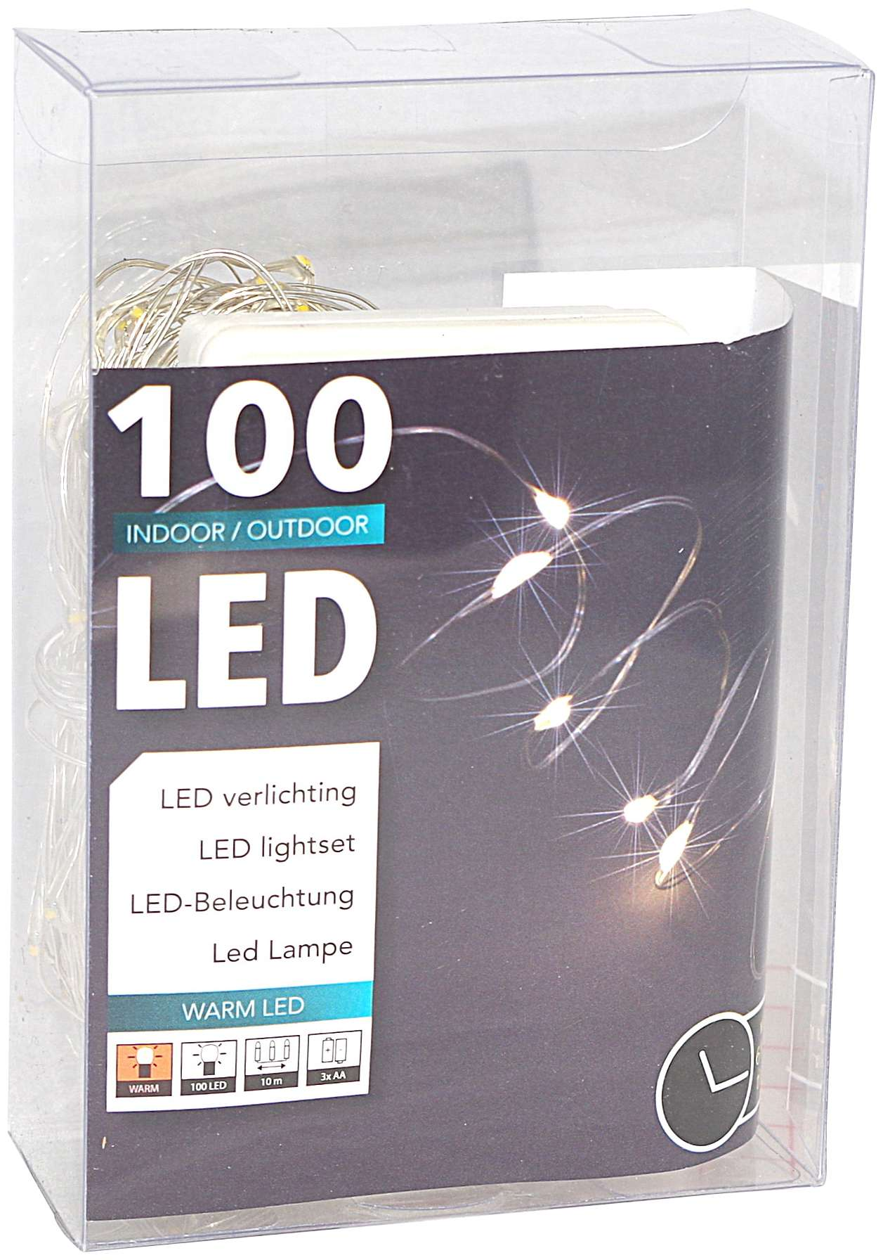 100er LED Draht-Lichterkette mit Timer für außen und innen ...