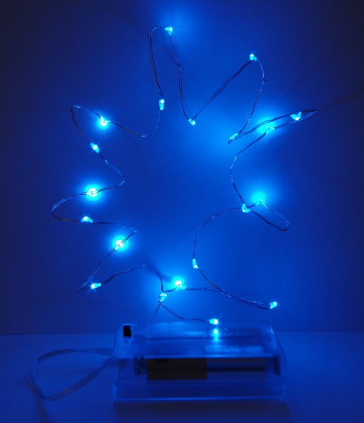 LED Lichterkette 20er Micro Silberdraht batteriebetrieben blau