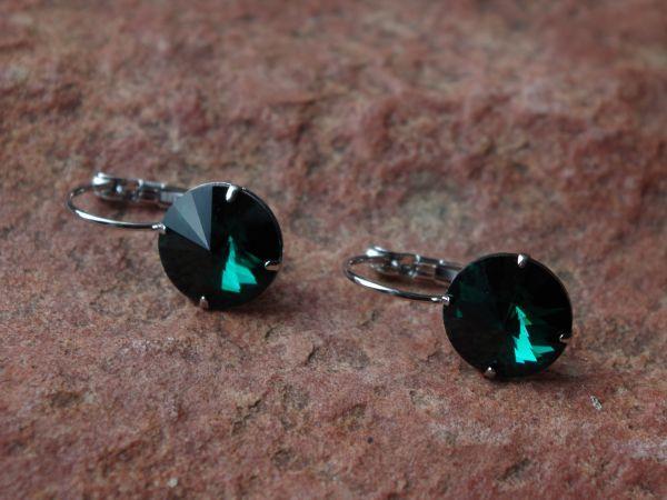 1 Paar Klapp Ohrhaken emerald grün Strass Stein 19x12mm silber 01325