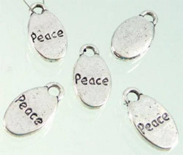 1 Anhänger Charms oval Peace silber 07344
