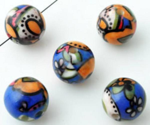 1 Kunststoffperle 14mm Muster blau orange weiss 11198