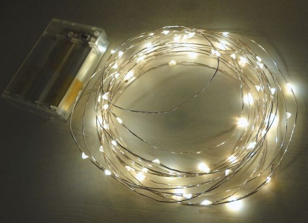 LED Draht Lichterkette silber 60er Micro Timer batteriebetrieben warmweiss