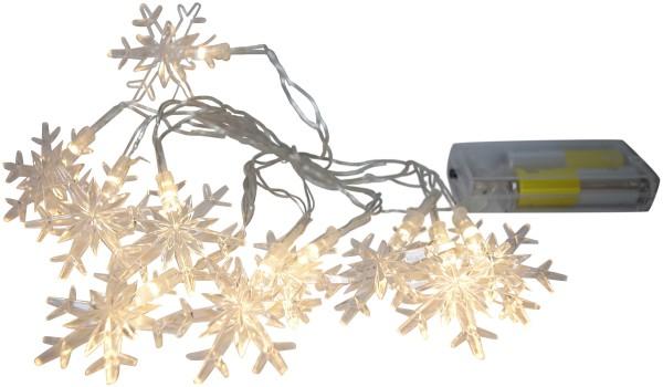LED Lichterkette 10 Acryl - Eiskristalle warmweiß Batteriebetrieb