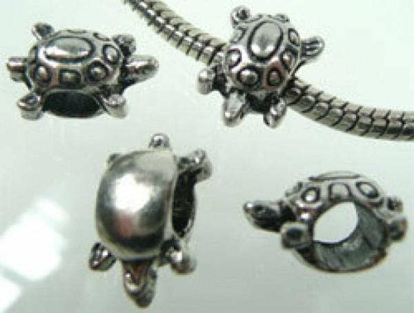 1 Bead Metall Perle Schildkröte silber 01729