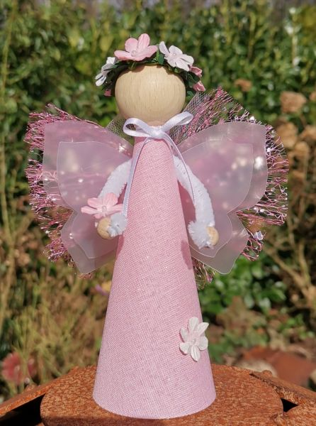 "1 Glücksfee ""Lotte"" rosa stehend Bastelpackung Fee basteln 18cm"