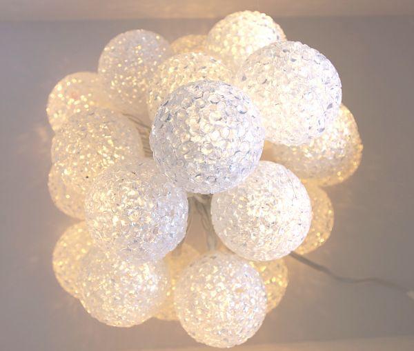 20-er LED Ball Lichterkette warmweiß Strom mit Timer
