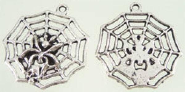 1 Anhänger Charms Metall Spinne Netz 08457
