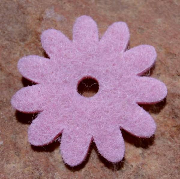 Ringscheibe Filz Blume rosa 36mm