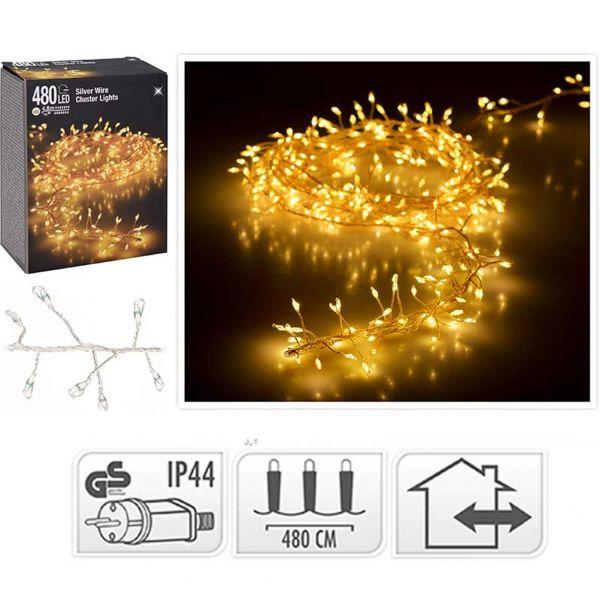 LED Cluster Lichterkette Silberdraht warmweiß 480 Lichter außen Büschel Strom