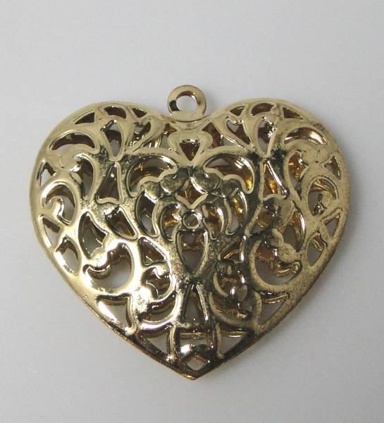 1 Anhänger Metallherz gold filigran 02762