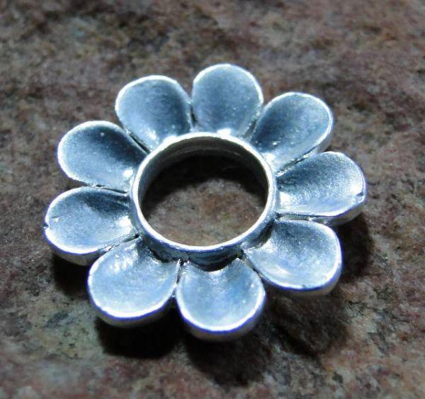 Ringscheibe Blume silber 20mm