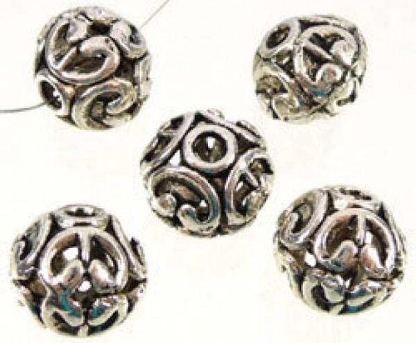 1 Perle 11mm filigran Metall silber/platin 07341