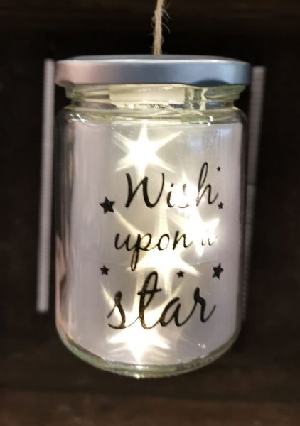 LED Glas Drahtlichterkette Stern Wish upon a star