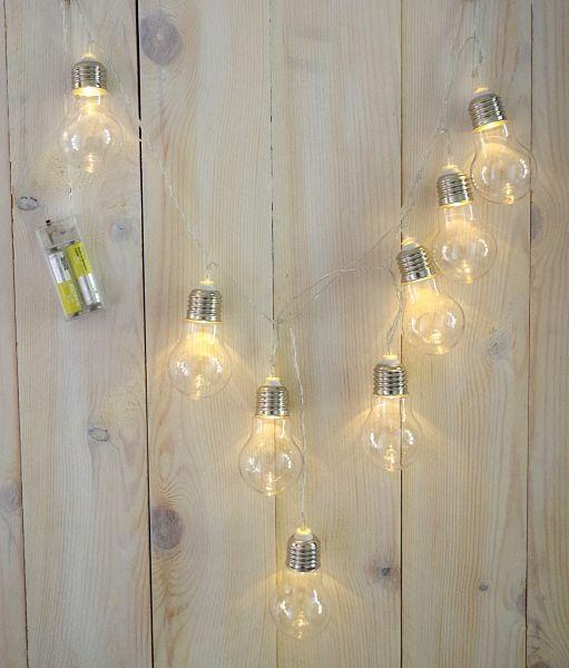 Dekolichterkette mit 8 Glühbirnen Batteriebetrieb