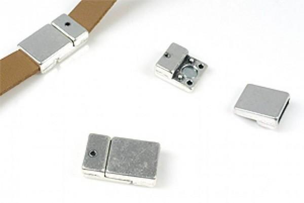 1 Magnetverschluss 21x12mm Metall silber/platin 13652 Schiebperlen