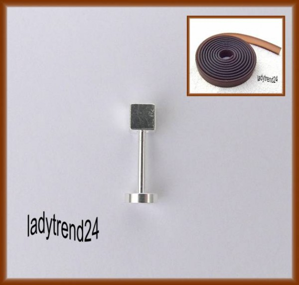 1 Wechselstab Ringstab silber 14,5mm Würfel 613