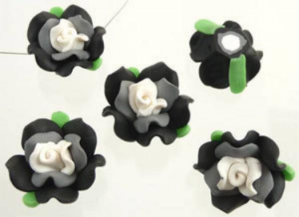 2 x Fimo Rose 20mm schwarz weiß 07881