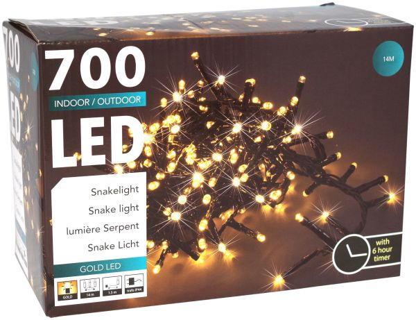 LED Snake 700 er Lichterkette extra warweiß mit Timer strombetrieben für innen und außen