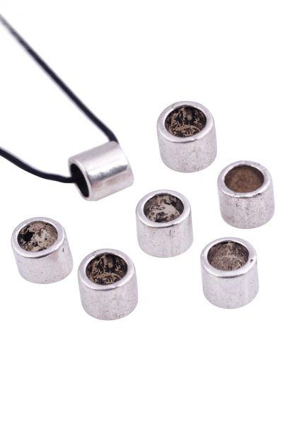 5 Metallperlen Röhrchen 6mm silber/platin 17866