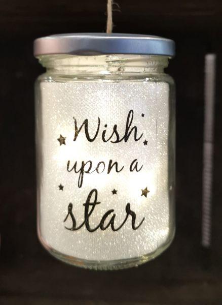 LED Glas zum Aufhängen Drahtlichterkette Glitzer Wish upon a star