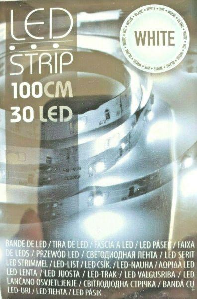 LED Leuchtstreifen Lichterkette 30 Leds kaltweiß Batterie Stripe Leiste 1m