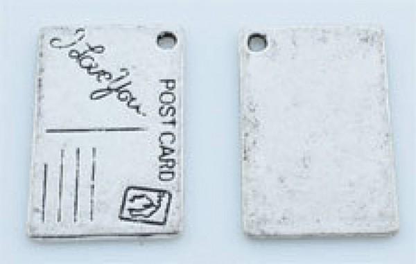 1 Anhänger Postkarte Love 25x16mm Metall silber / platin 08793