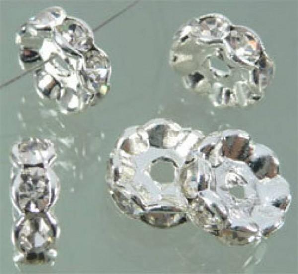 1 x Strass Rondell 10mm kristall silber Metall 06296