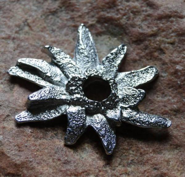 Ringscheibe Edelweiss silber 26mm Metall