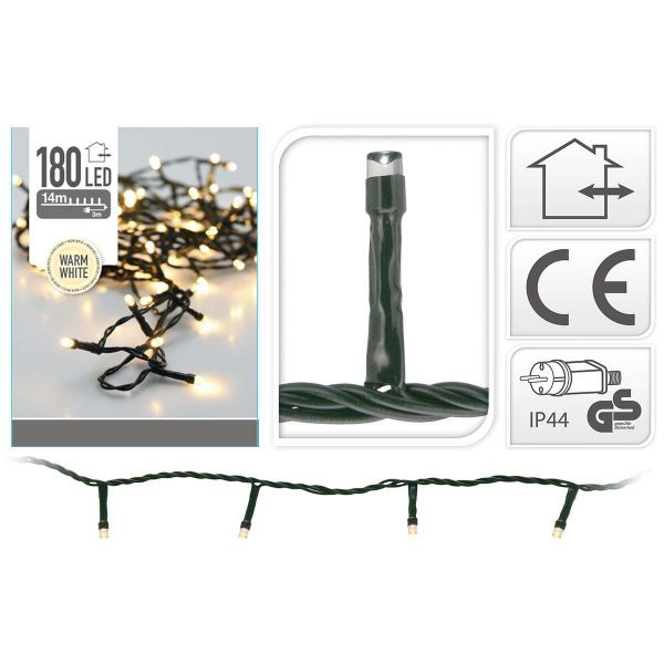 LED Lichterkette 180 Lämpchen warmweiss für innen und außen grünes Kabel Strom