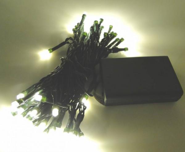 LED - Lichterkette 50 Lämpchen Batterie warmweiß - grünes Kabel