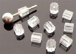 20 Ersatzstöpsel für Ohrring Fischerhaken transparent 08587