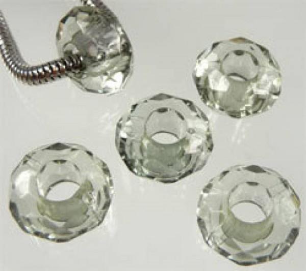 5 Kristall Beads Kunststoff grau Perle 06754